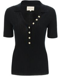 Loulou Studio Ribbed Jumper With Buttons - Black