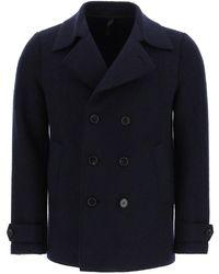 Harris Wharf London Boucle' Pressed Wool Peacoat - Black