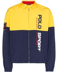 Polo Ralph Lauren Logo Print Zip-front Panelled Jacket - Yellow