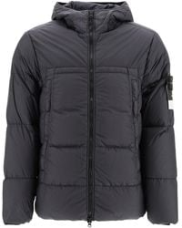 Stone Island Garment-dyed Hooded Down Jacket - Grey