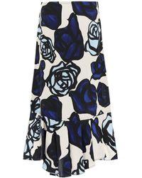 Marni Rome Print Satin Skirt - Blue