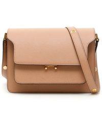 Marni Chevron Leather Briefcase - Brown