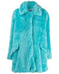 MSGM Faux Fur Short Coat - Blue