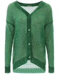 Miu Miu Sequins Knitted Cardigan - Green