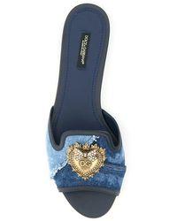 Dolce & Gabbana Bianca Devotion Denim Flat Mules - Blue