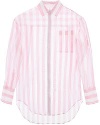 MSGM Striped Organza Shirt - Blue