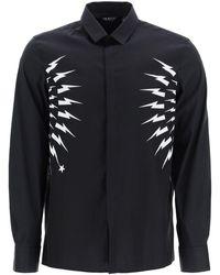 Neil Barrett Thunderbolt Dual Material Shirt S Cotton - Black