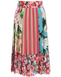 Dolce & Gabbana Dolce & Gabbana Patchwork Pleated Skirt - Red