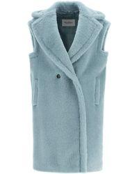 Max Mara Teddy Vest In Alpaca And Wool - Blue