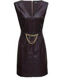 Liu Jo Brown Leatheret Dress With Chain Belt