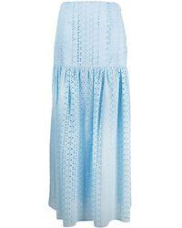 FEDERICA TOSI Full-length Broderie Anglaise Skirt - Blue