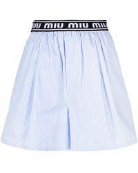 Miu Miu Striped Shorts - Blue