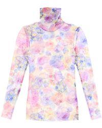 Ganni High Neck Top In Floral Mesh - Multicolour
