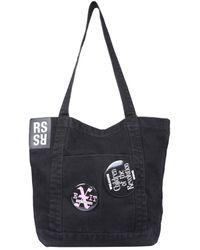 Raf Simons Denim Tote Bag With Oversized Pins - Black