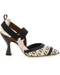 Fendi Colibri' Ff Raffia Slingback Court Shoes - Black