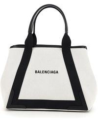Balenciaga Cabas Medium Navy Canvas Bag - Black