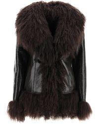 Saks Potts Shearling Coat With Fur - Black