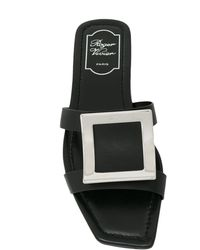 Roger Vivier Bikiviv Leather Flat Sandals - Black
