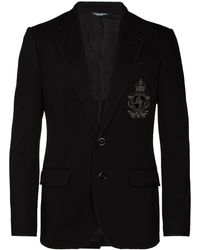 Dolce & Gabbana Logo Patch Jersey Blazer - Blue