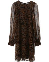 Ganni - Animalier Print Mini Dress - Lyst
