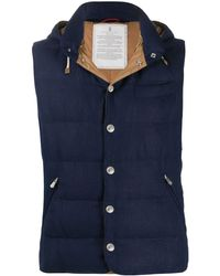 Brunello Cucinelli High-neck Quilted Gilet - Blue