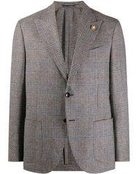 Lardini Check Single-breasted Blazer - Grey