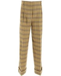 Acne Studios Payge Chequered Trousers - Natural