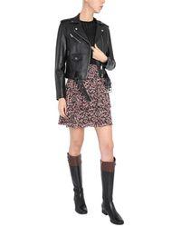 MICHAEL Michael Kors Leather Biker Jacket With Belt - Black