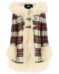 Miu Miu Tartan Coat With Mongolian Fur - Natural