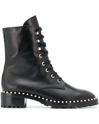 Stuart Weitzman Allie Pearl Ankle Boots - Black