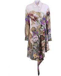 Off-White c/o Virgil Abloh - Botanical-print Shirt Dress - Lyst