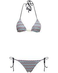 M Missoni Geometric Printed Bikini In Synthetic Jersey - Blue