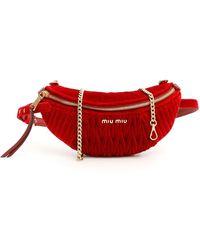Miu Miu Matelassé Velvet Beltbag - Red