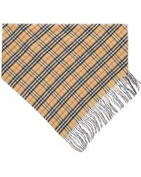 Burberry Vintage Check Double Layer Cashmere Bandana Scarf - Multicolour