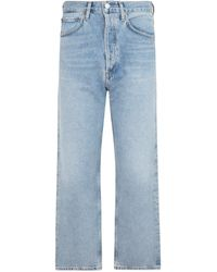Agolde 90`s Crop Mid Rise Loose Fit Denim Jeans - Blue