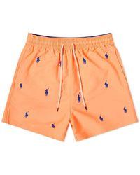 Polo Ralph Lauren Classic Traveller Short Logo Swim Shorts - Orange