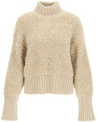 The Attico Turtleneck Wool Jumper - Natural