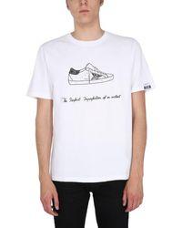 "Golden Goose Deluxe Brand ""adamo"" Cotton Jersey Printed T-shirt - White"