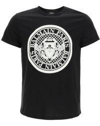 Balmain T-shirt With Flock Medallion Logo S Cotton - Black