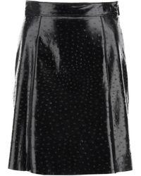 MSGM Ostrich Effect Eco-leather Mini Skirt - Black