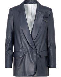 Brunello Cucinelli Leather Jacket - Blue