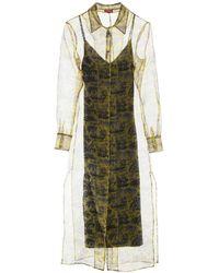 STAUD Sheer Shirt Maxi Dress - Yellow