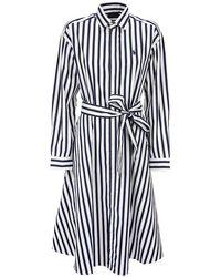 Ralph Lauren Striped Cotton Shirtdress - Blue