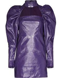 ROTATE BIRGER CHRISTENSEN Kaya Dress In Purple Leatheret