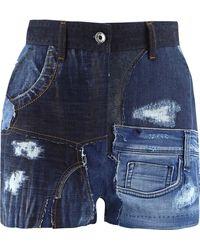 Dolce & Gabbana Patchwork Denim Shorts - Blue