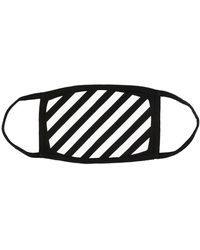 Off-White c/o Virgil Abloh Off White Mens Black And White Diagonal Graphic-print Cotton Face Covering Mask