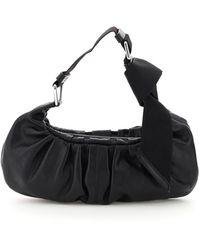 Ganni Mini Hobo Baguette Bag Draped Leather - Black