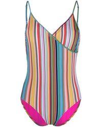 Paul Smith Striped V-neck Swimsuit - Multicolour