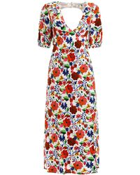 RIXO London Steph Floral Print Midi Dress - Multicolour