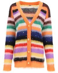 Miu Miu Mohair F 3 Stripe Crystal Cardigan - Multicolor